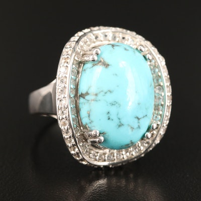 Sterling Silver Turquoise and White Topaz Ring