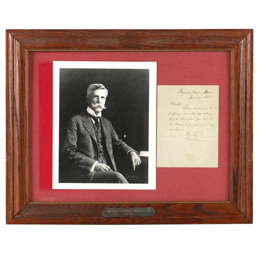 Oliver Wendell Holmes Jr. Framed Letter with Photogravure Portrait, 1905