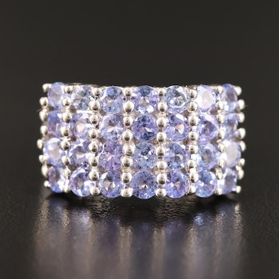 Sterling Pavé Tanzanite Ring