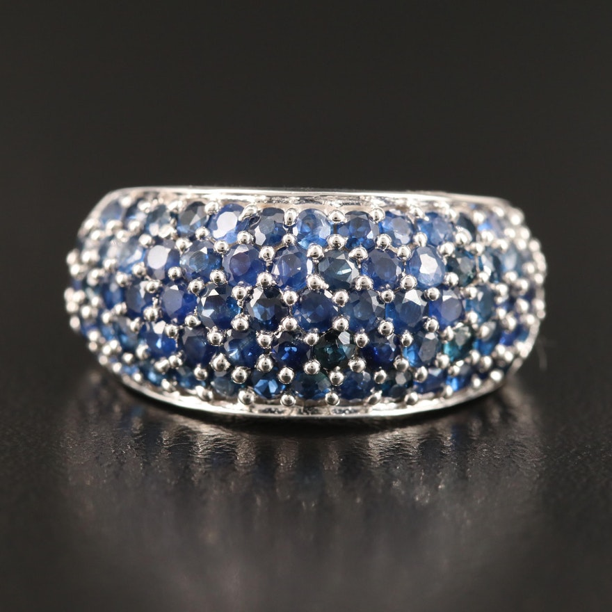 Sterling Silver Sapphire Dome Ring