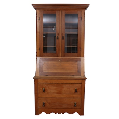 Victorian Oak Secretary Bookcase, Late 19th Cntury