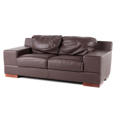 American Leather Modernist Style Brown Leather Loveseat