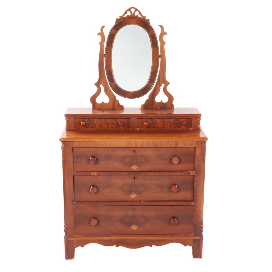 Victorian Cherrywood and Mahogany Dresser with Mirror, Mid-19th Century