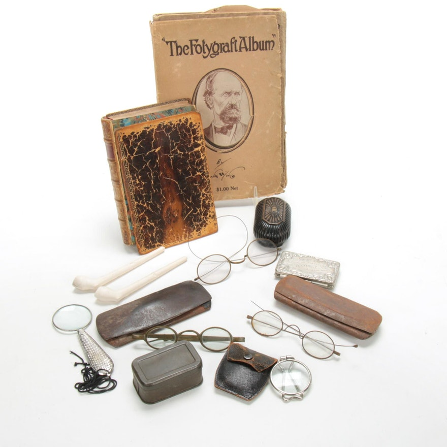 Antique Spectacles and Gentleman's Library Assemblage