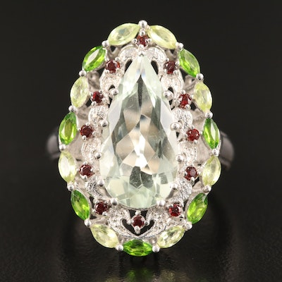 Sterling Silver Prasiolite, Garnet and Peridot Ring