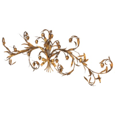 Italian Florentine Style Scrolled Floral Metal Wall Hanging