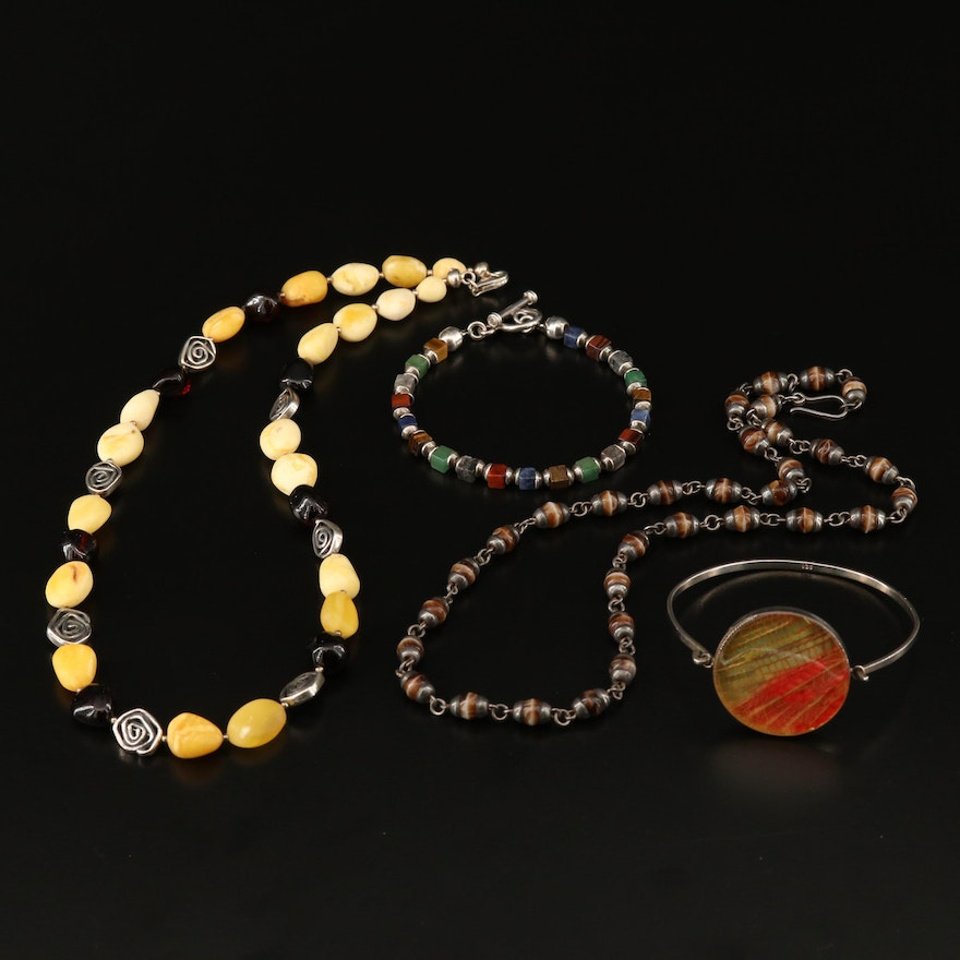 Sterling Silver Necklaces and Bracelets with Tiger's Eye, Jasper and Glass
