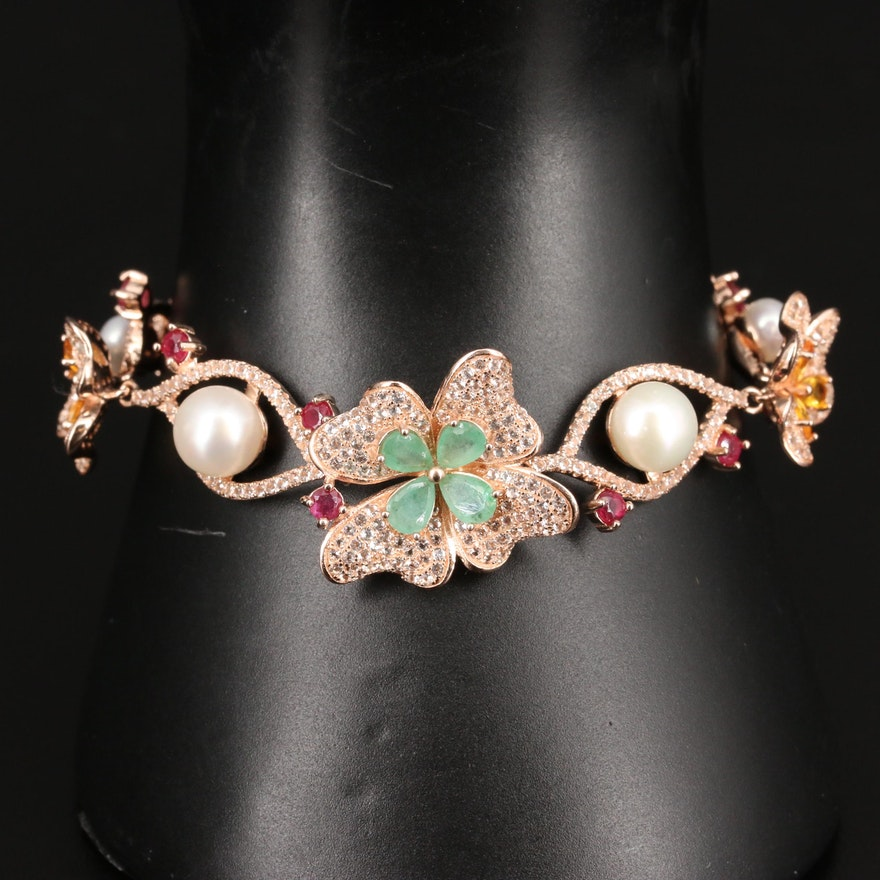 Sterling Silver Emerald, Pearl and Sapphire Floral Bracelet