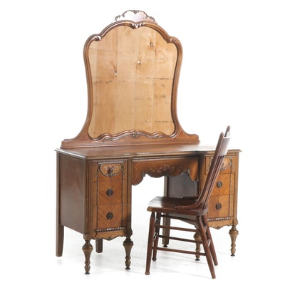 Sterling Furniture Co. Walnut-Stained and Floral-Painted Vanity Plus Side Chair