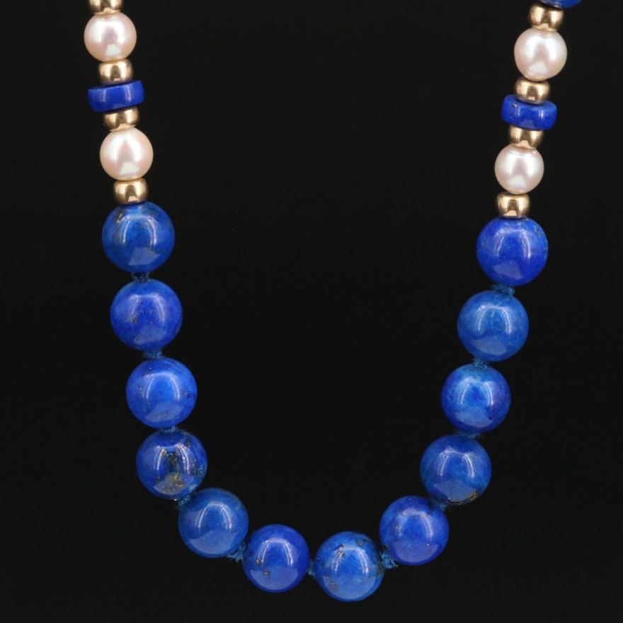 Endless Lapis Lazuli and Pearl Necklace with 14K Findings