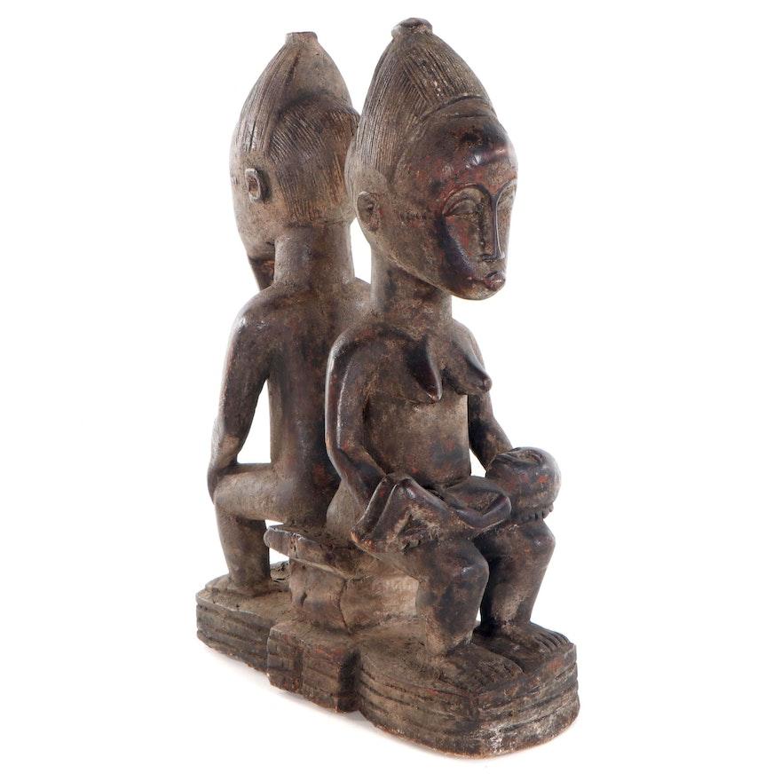 Baule Carved Wood Couple Sculpture with Child, Côte d'Ivoire