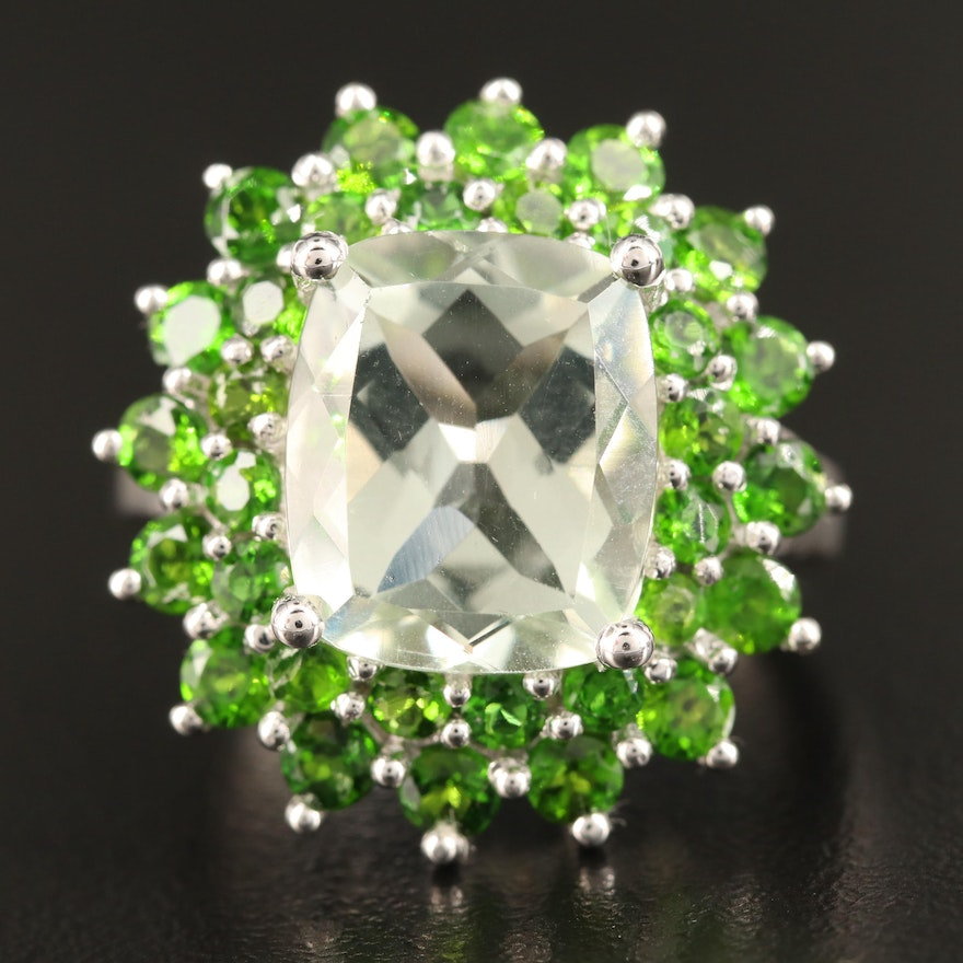 Sterling Prasiolite and Diopside Ring