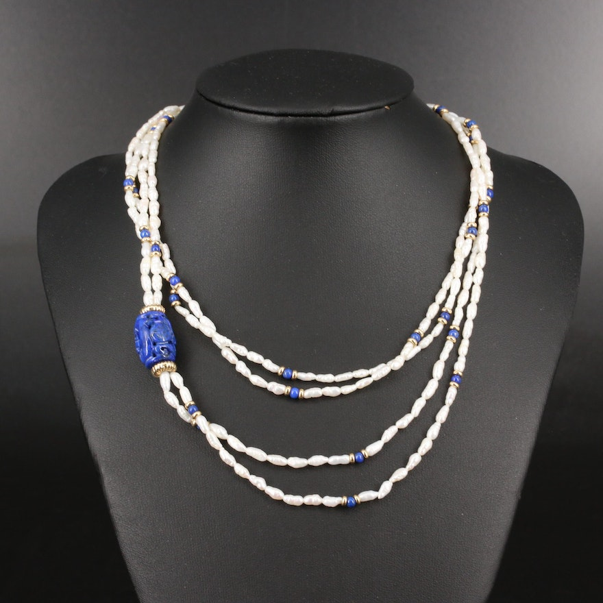 Endless Double Strand Pearl Necklace with Lapis Lazuli Pendant and 14K Beads