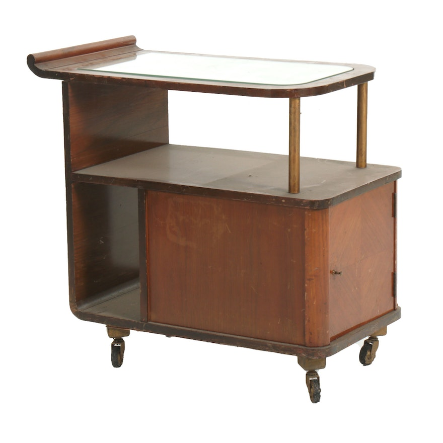 Art Deco Walnut Veneered Mirror Top Bar Cart, circa 1930s