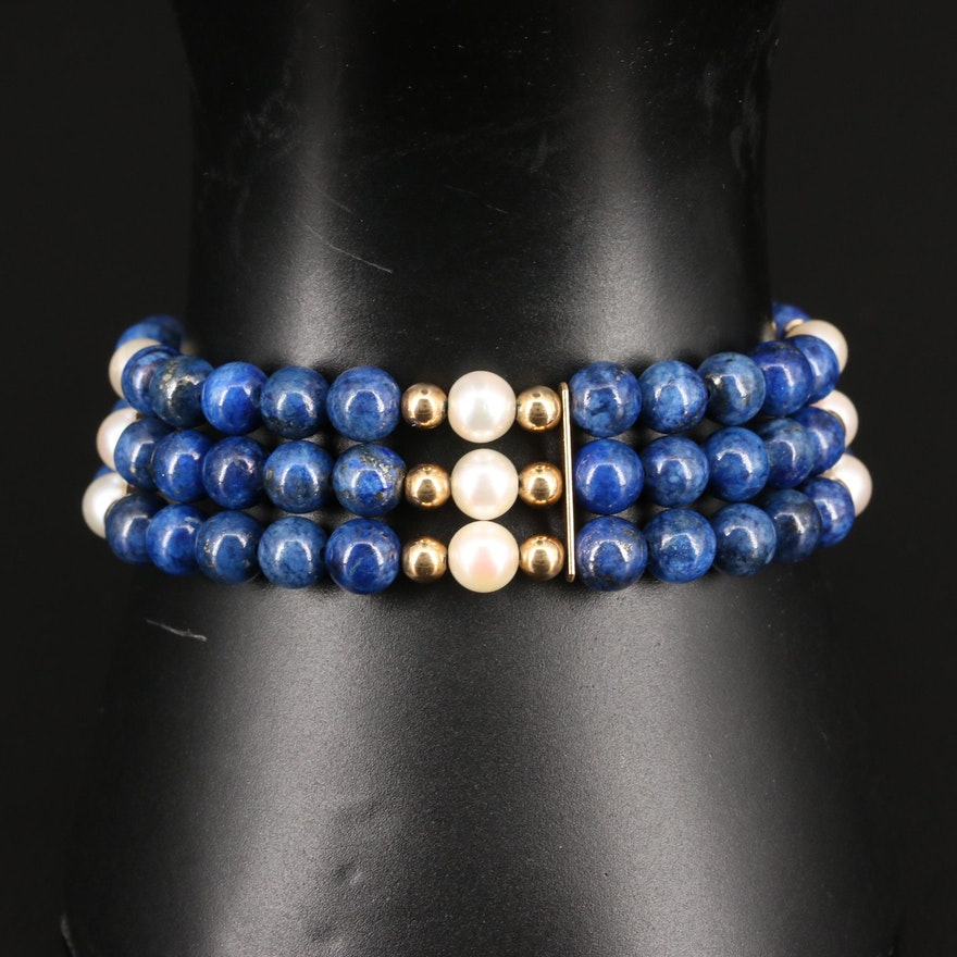 Triple Row Lapis Lazuli and Pearl Bracelet with 14K Beads and Clasp