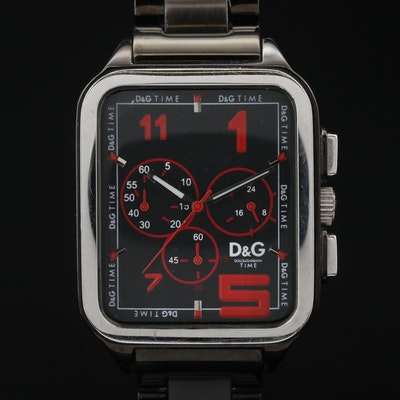 D&G Dolce & Gabbana Stainless Steel Quartz Chronograph Wristwatch