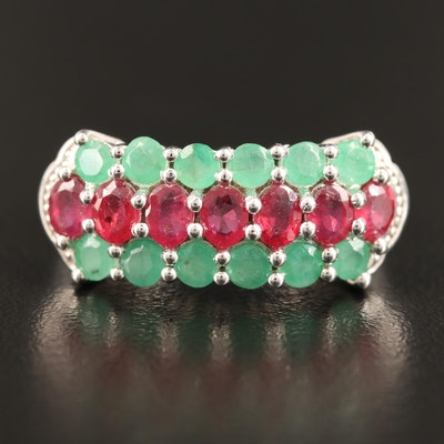Sterling Silver Emerald and Corundum Three Row Ring