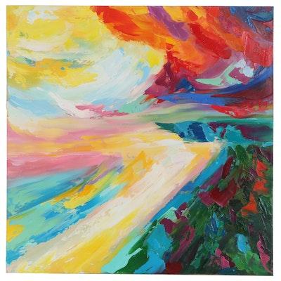 Alyona Glushchenko Abstract Landscape Oil Painting, 2020