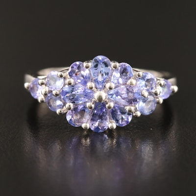 Sterling Silver Tanzanite Cluster Ring Featuring Floral Center Design