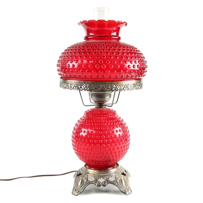 Hobnail Ruby Glass Table Lamp, Mid-20th Century