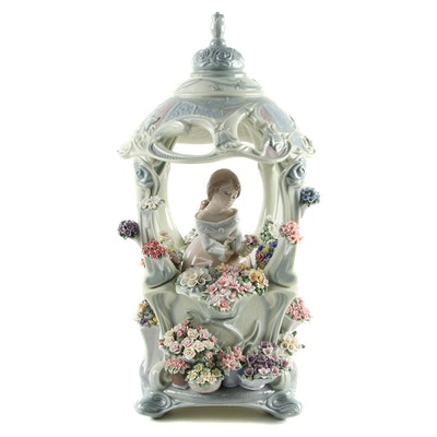 "Signed Lladró ""Gazebo in Bloom"" Porcelain Figurine Designed by Francisco Polope"