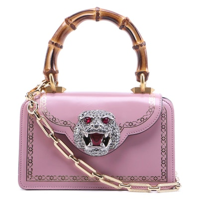 Gucci Thiara Bamboo Handle Bag in Blush Pink Smooth Leather with Chain Strap