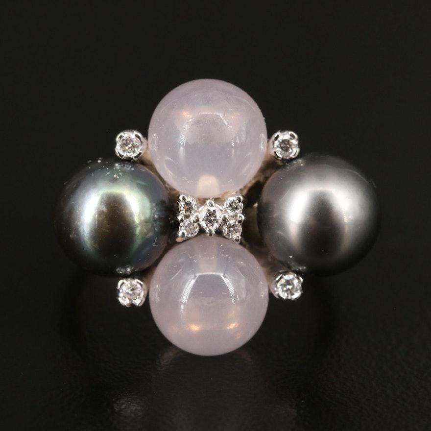 14K Rose Quartz, Pearl and Diamond Ring