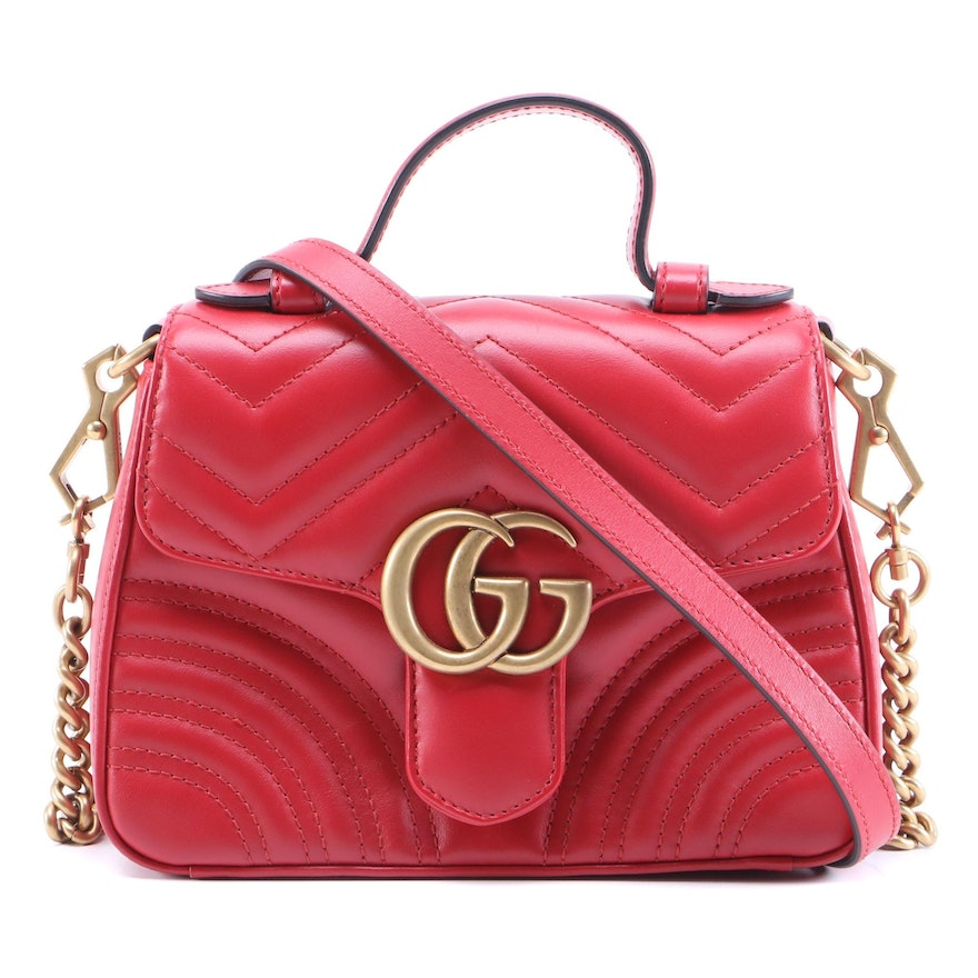 Gucci GG Mini Marmont Top Handle Flap Bag in Red Matelasse Leather