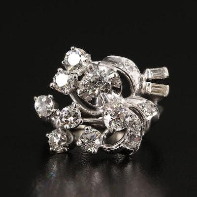 Circa 1950 14K 1.47 CTW Diamond Ring