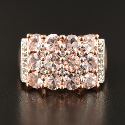 Sterling Silver Morganite and Spinel Ring