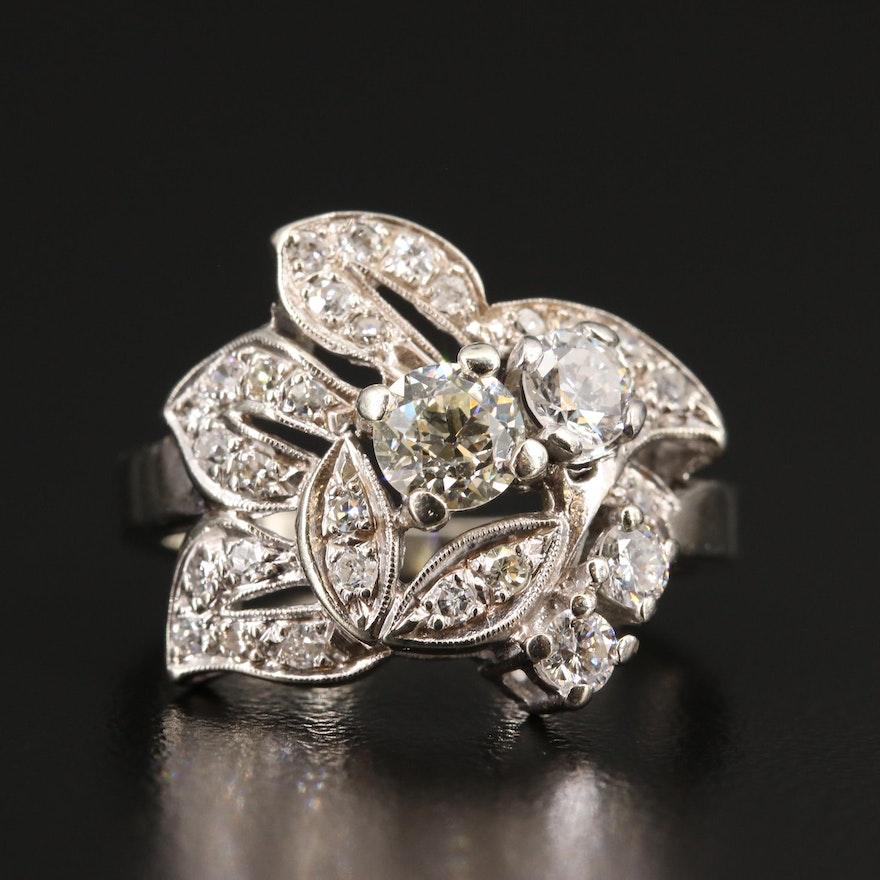 Circa 1940 14K 1.25 CTW Diamond Ring