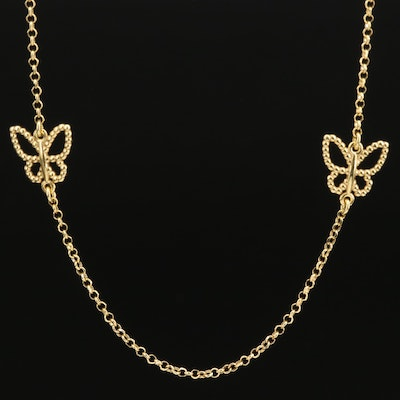 Sterling Butterfly Station Necklace
