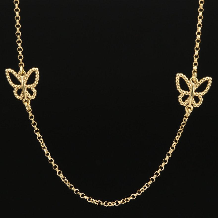 Sterling Butterfly Station Necklace
