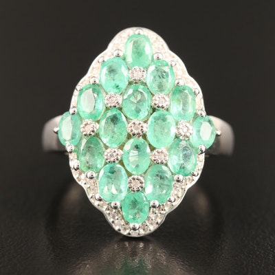 Sterling Silver Emerald and Spinel Ring with Lattice Design