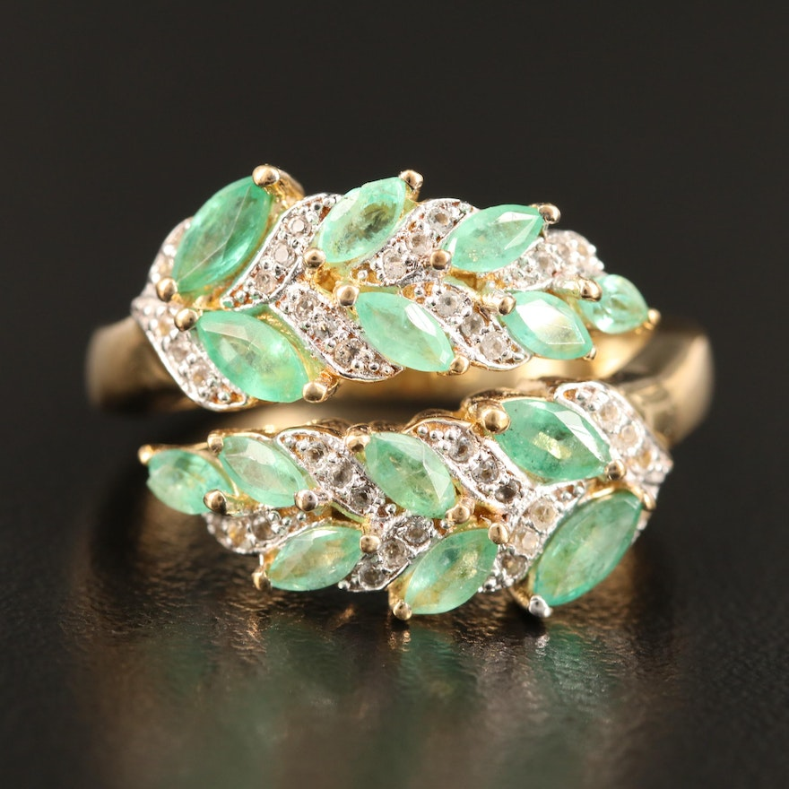 Sterling Silver Emerald and Topaz Bypass Ring Featuring Foliate Motif