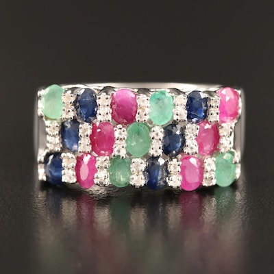 Sterling Silver Emerald, Sapphire and Corundum Ring with Patterned Design