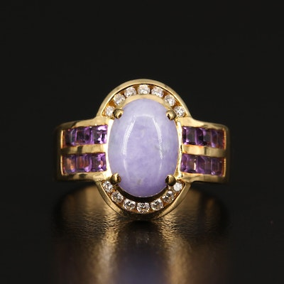 18K Jadeite, Amethyst and Diamond Ring