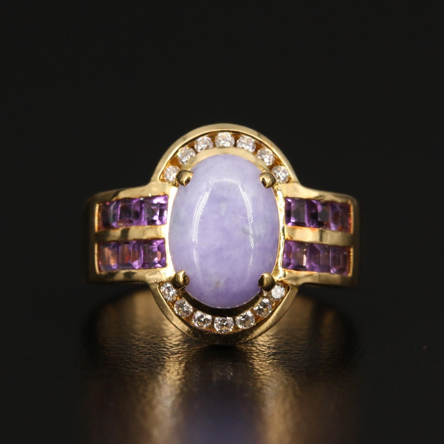 18K Jadeite, Amethyst and Diamond Ring