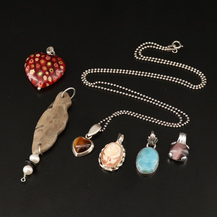 Sterling Silver Bead Chain Necklace with Gemstone and Millefiori Pendants