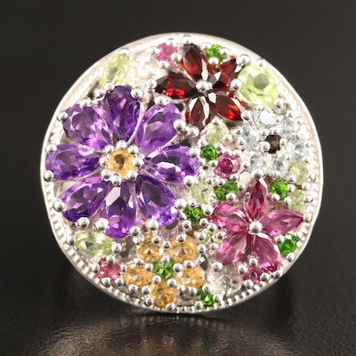 Sterling Silver Floral Motif Ring Featuring Amethyst, Garnet and Peridot