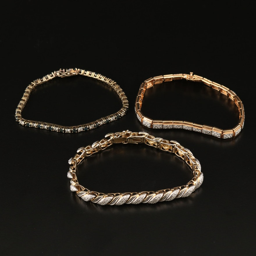 Sterling Silver Diamond and Cubic Zirconia Link Bracelets