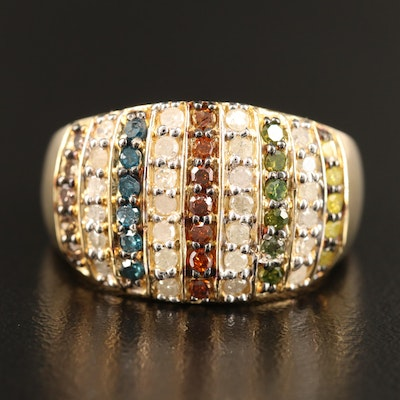Sterling Silver 0.87 CTW Diamond Ring Featuring Multi-Colored Diamonds
