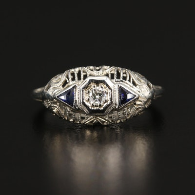 Late Edwardian 18K Diamond and Sapphire Openwork Ring