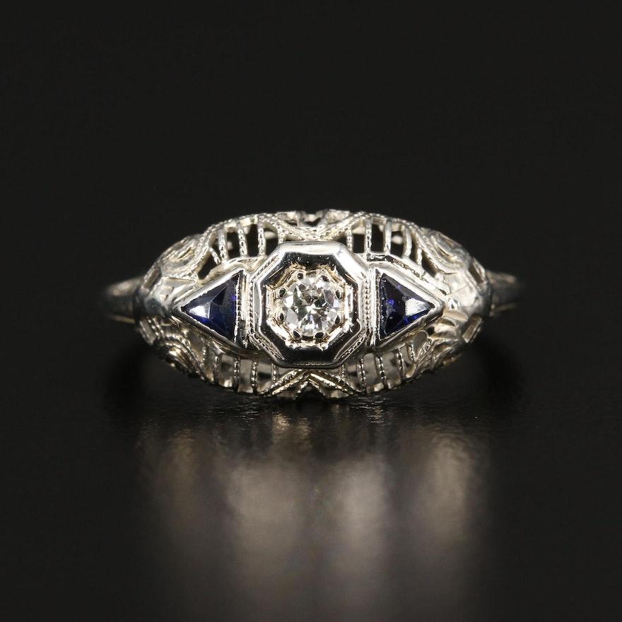 Late Edwardian 18K Diamond and Sapphire Openwork Ring