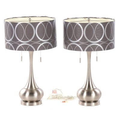 Pair of Modernist Style Metal Table Lamps, Contemporary