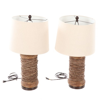 Pair of Wicker and Rush Woven Table Lamps, Contemporary