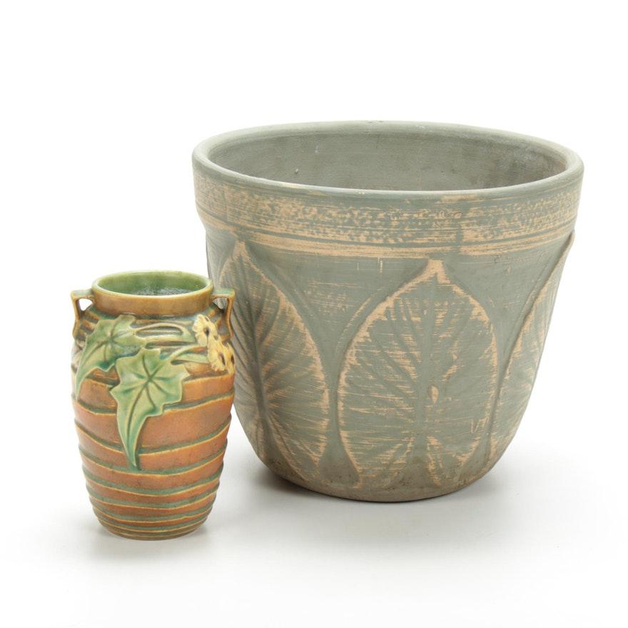 "Roseville Pottery ""Luffa"" Vase and Alocasia Calidora ""Elephant Ear"" Planter"