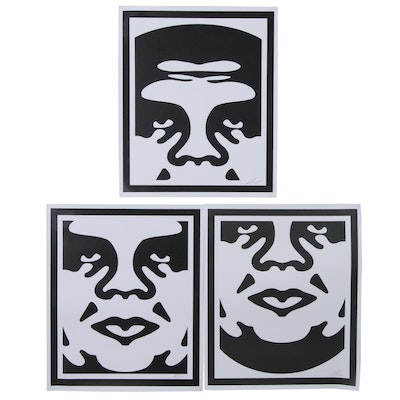 "Shepard Fairey Offset Print Triptych ""Obey 3-Face"", 2020"