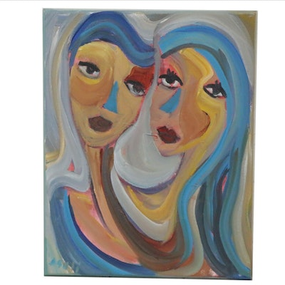 Ray Asali Acrylic Portrait of Women with Blue Hair, 2020