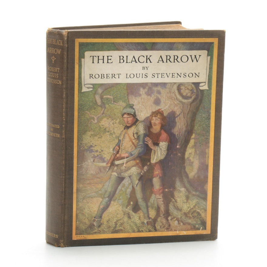 "First Edition ""The Black Arrow"" by Stevenson with Wyeth Illustrations, 1916"